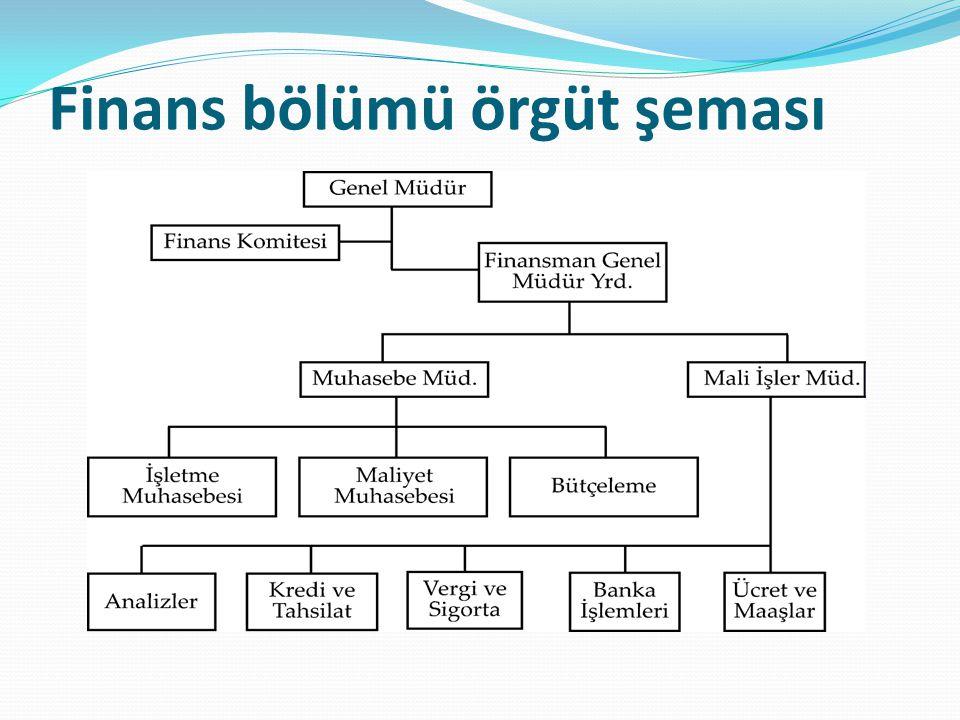 Finans bölümü örgüt şeması