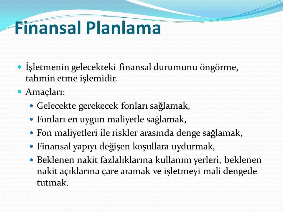 Finansal Planlama İşletmenin gelecekteki finansal durumunu öngörme, tahmin etme işlemidir.