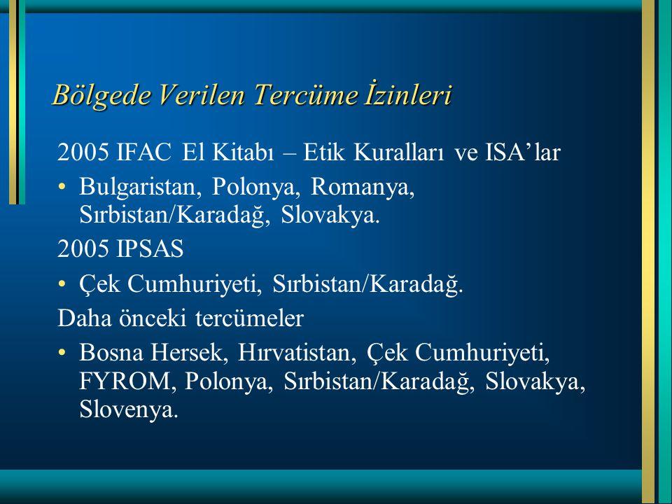 Bölgede Verilen Tercüme İzinleri 2005 IFAC El Kitabı – Etik Kuralları ve ISA'lar Bulgaristan, Polonya, Romanya, Sırbistan/Karadağ, Slovakya. 2005 IPSA