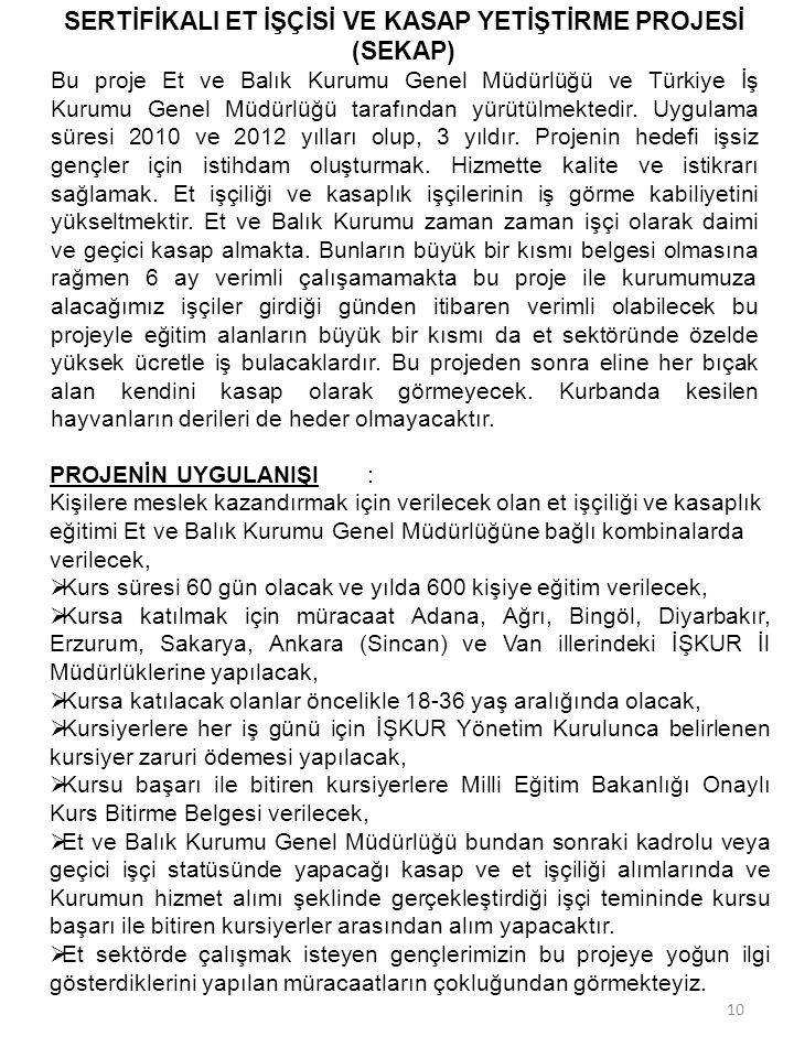 10 SERTİFİKALI ET İŞÇİSİ VE KASAP YETİŞTİRME PROJESİ (SEKAP) Bu proje Et ve Balık Kurumu Genel Müdürlüğü ve Türkiye İş Kurumu Genel Müdürlüğü tarafınd
