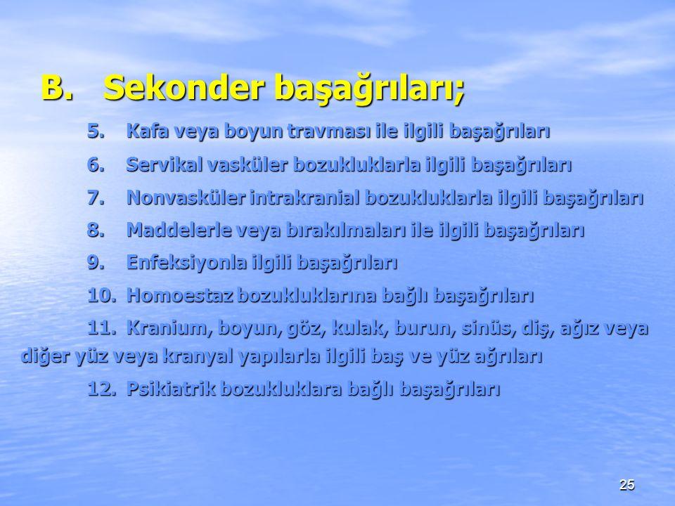 25 B.Sekonder başağrıları; 5. Kafa veya boyun travması ile ilgili başağrıları 6.