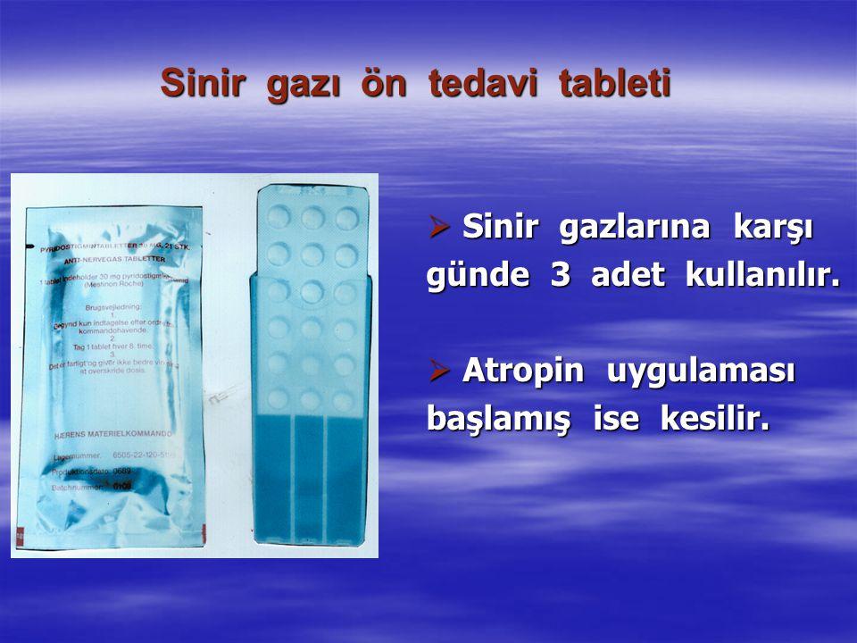 Sinir gazı ön tedavi tableti  Sinir gazlarına karşı günde 3 adet kullanılır.  Atropin uygulaması başlamış ise kesilir.