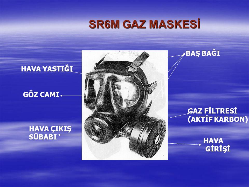 SR6M GAZ MASKESİ HAVA ÇIKIŞ SÜBABI GÖZ CAMI HAVA YASTIĞI BAŞ BAĞI GAZ FİLTRESİ (AKTİF KARBON) HAVA GİRİŞİ