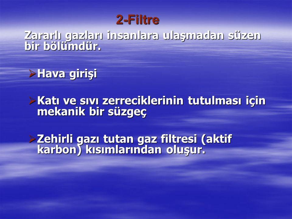 2-Filtre Zararlı gazları insanlara ulaşmadan süzen bir bölümdür.  Hava girişi  Katı ve sıvı zerreciklerinin tutulması için mekanik bir süzgeç  Zehi