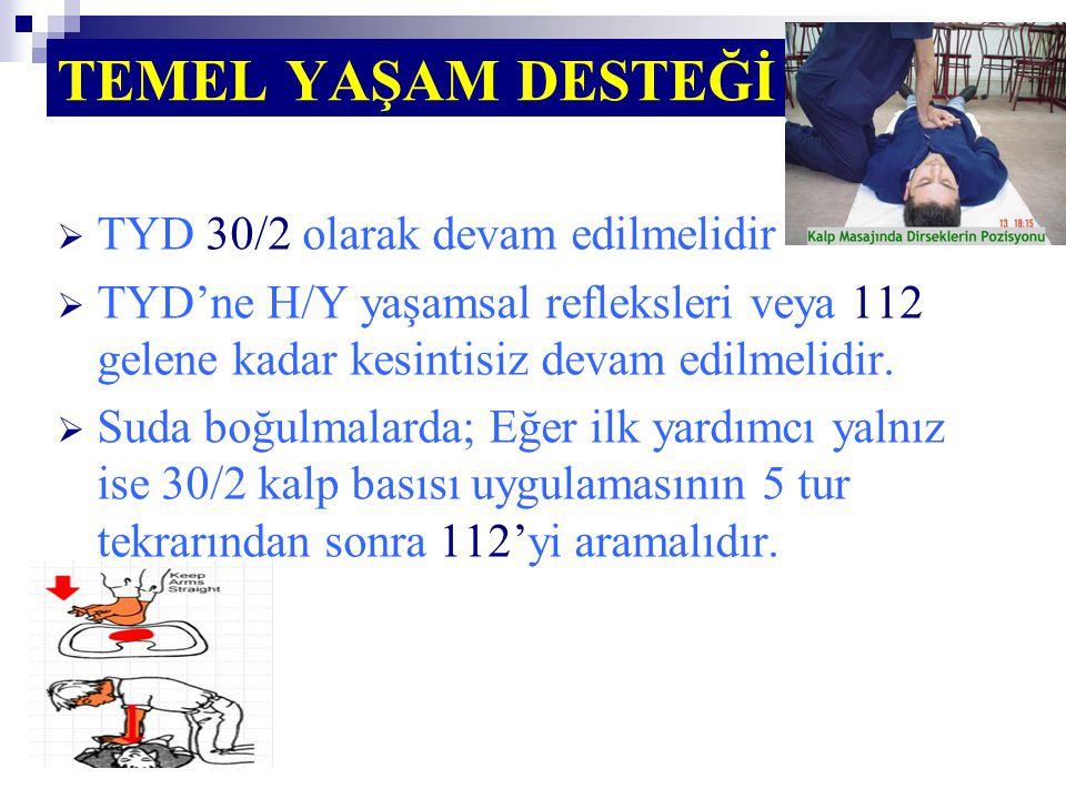 TEMEL YAŞAM DESTEĞİ  TYD 30/2 olarak devam edilmelidir  TYD'ne H/Y yaşamsal refleksleri veya 112 gelene kadar kesintisiz devam edilmelidir.  Suda b