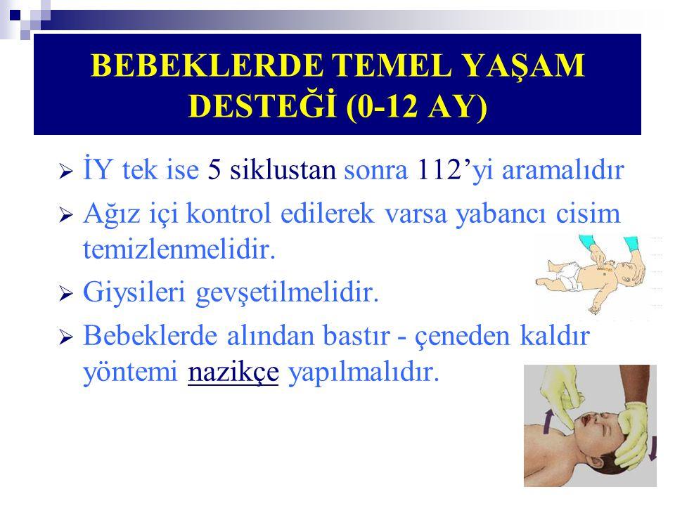BEBEKLERDE TEMEL YAŞAM DESTEĞİ (0-12 AY)  İY tek ise 5 siklustan sonra 112'yi aramalıdır  Ağız içi kontrol edilerek varsa yabancı cisim temizlenmeli