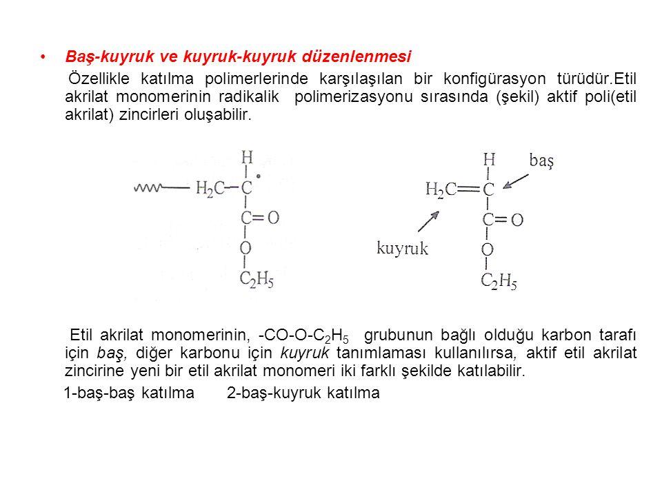 Baş-kuyruk ve kuyruk-kuyruk düzenlenmesi Özellikle katılma polimerlerinde karşılaşılan bir konfigürasyon türüdür.Etil akrilat monomerinin radikalik po