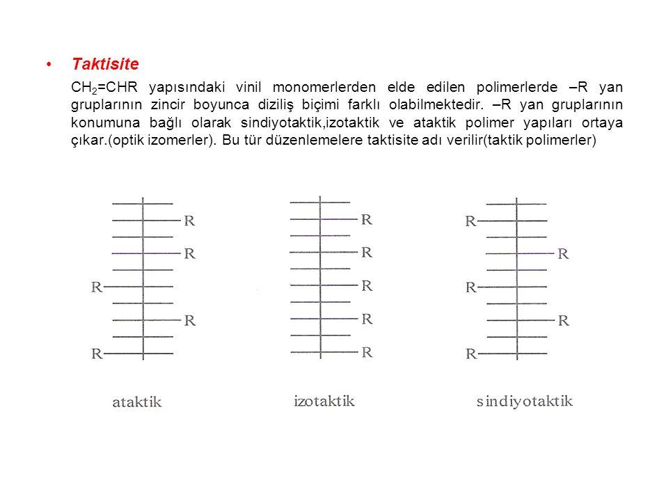 Taktisite CH 2 =CHR yapısındaki vinil monomerlerden elde edilen polimerlerde –R yan gruplarının zincir boyunca diziliş biçimi farklı olabilmektedir. –