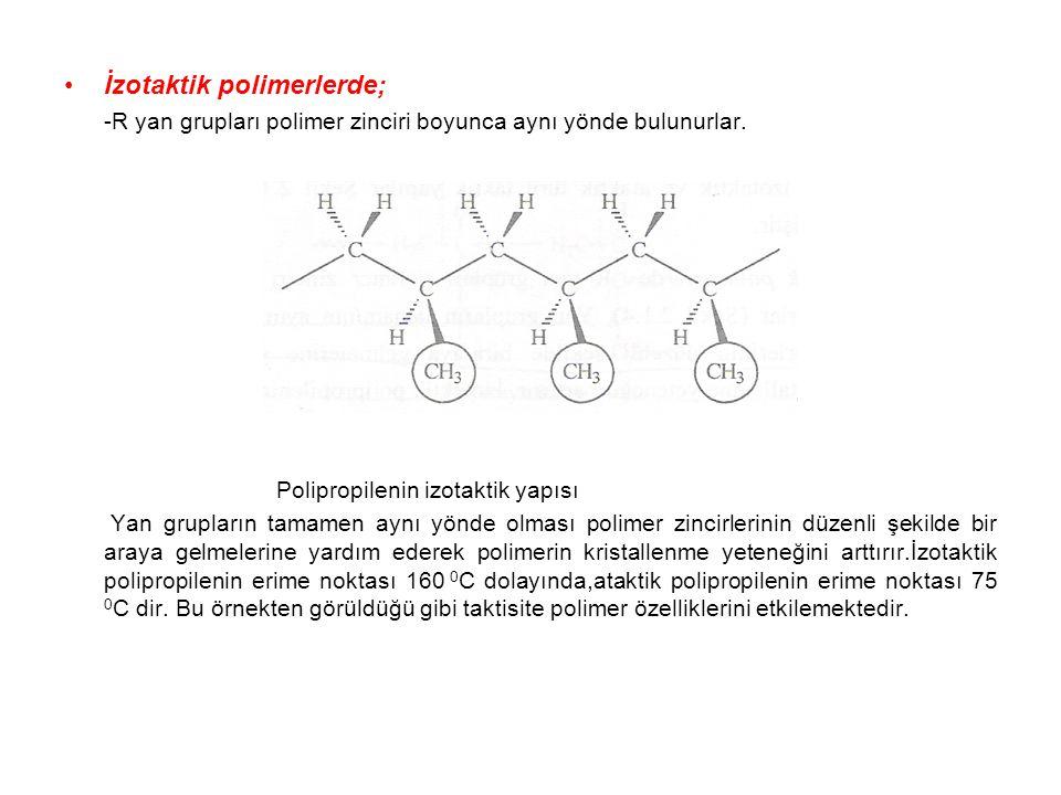 İzotaktik polimerlerde; -R yan grupları polimer zinciri boyunca aynı yönde bulunurlar. Polipropilenin izotaktik yapısı Yan grupların tamamen aynı yönd