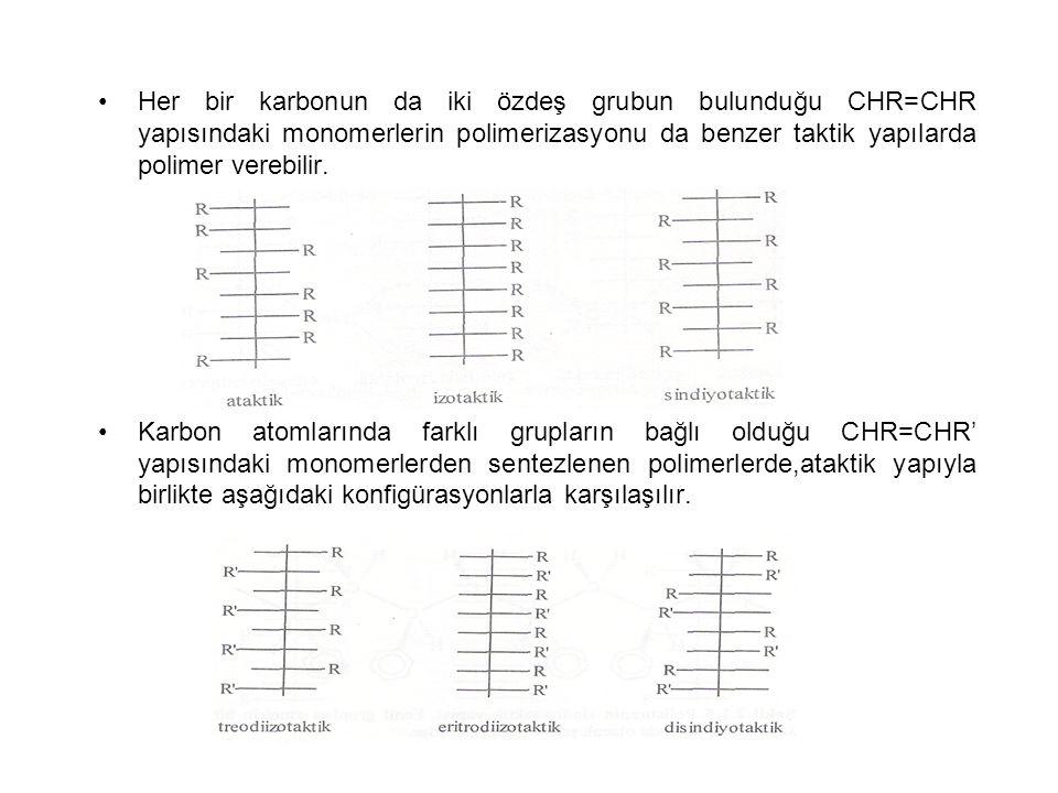 Her bir karbonun da iki özdeş grubun bulunduğu CHR=CHR yapısındaki monomerlerin polimerizasyonu da benzer taktik yapılarda polimer verebilir. Karbon a