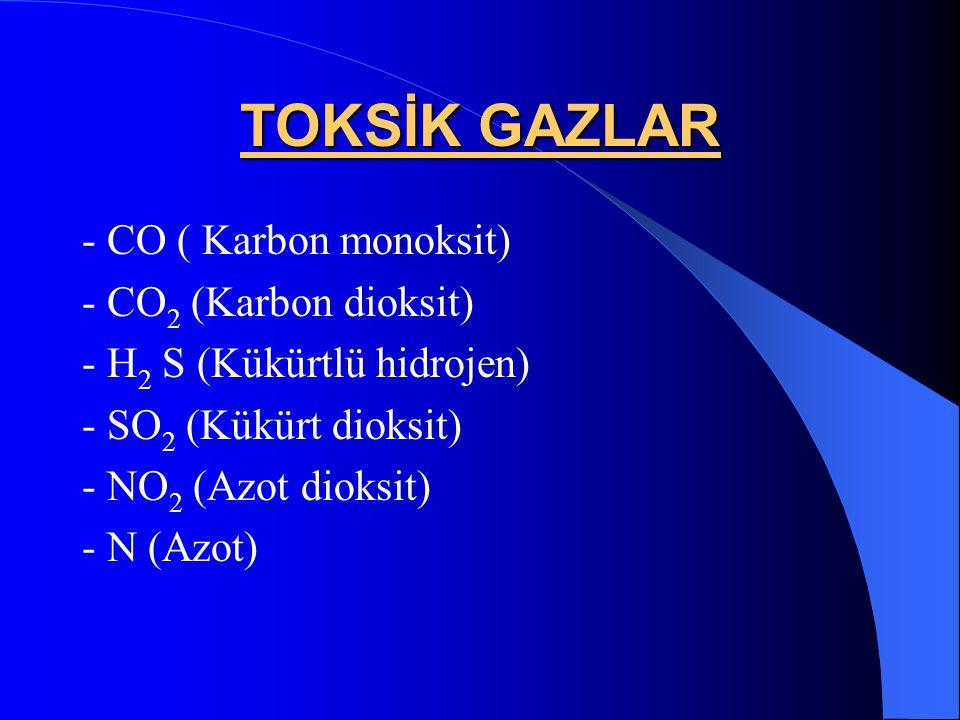 TOKSİK GAZLAR - CO ( Karbon monoksit) - CO 2 (Karbon dioksit) - H 2 S (Kükürtlü hidrojen) - SO 2 (Kükürt dioksit) - NO 2 (Azot dioksit) - N (Azot)