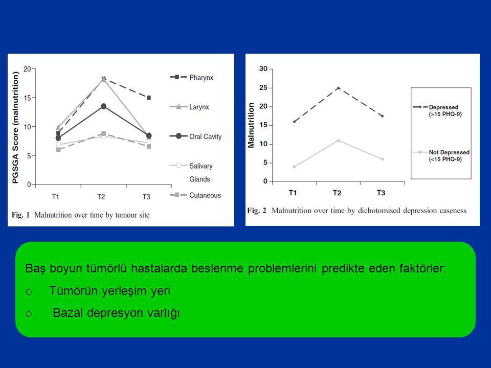 Baş boyun tümörlü hastalarda beslenme problemlerini predikte eden faktörler: o Tümörün yerleşim yeri o Bazal depresyon varlığı