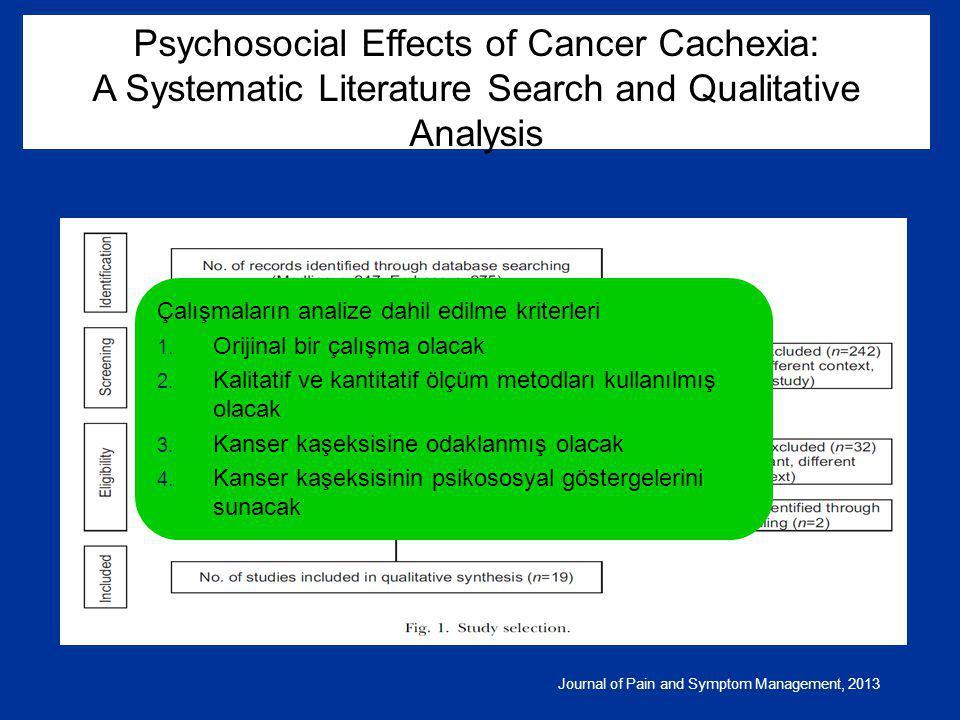 Journal of Pain and Symptom Management, 2013 Çalışmaların analize dahil edilme kriterleri 1. Orijinal bir çalışma olacak 2. Kalitatif ve kantitatif öl