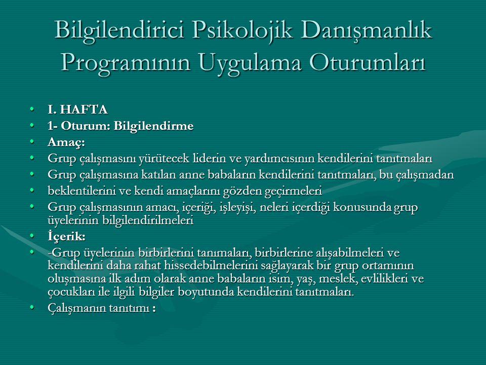 Bilgilendirici Psikolojik Danışmanlık Programının Uygulama Oturumları I.