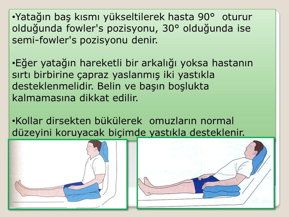 Yatağın baş kısmı yükseltilerek hasta 90° oturur olduğunda fowler's pozisyonu, 30° olduğunda ise semi-fowler's pozisyonu denir. Eğer yatağın hareketli