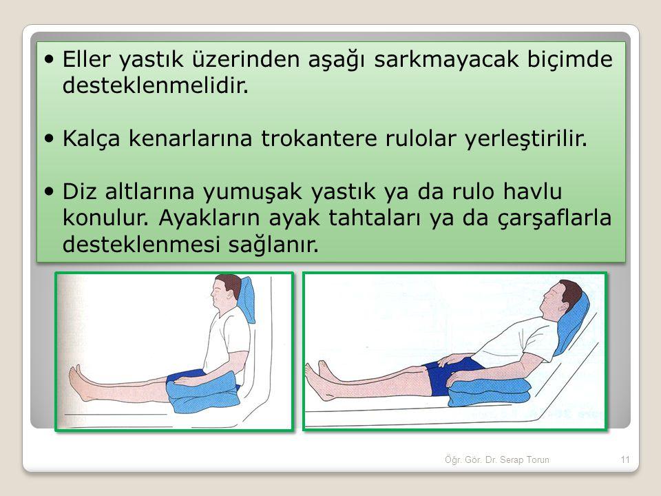 11Öğr. Gör. Dr. Serap Torun Eller yastık üzerinden aşağı sarkmayacak biçimde desteklenmelidir. Kalça kenarlarına trokantere rulolar yerleştirilir. Diz