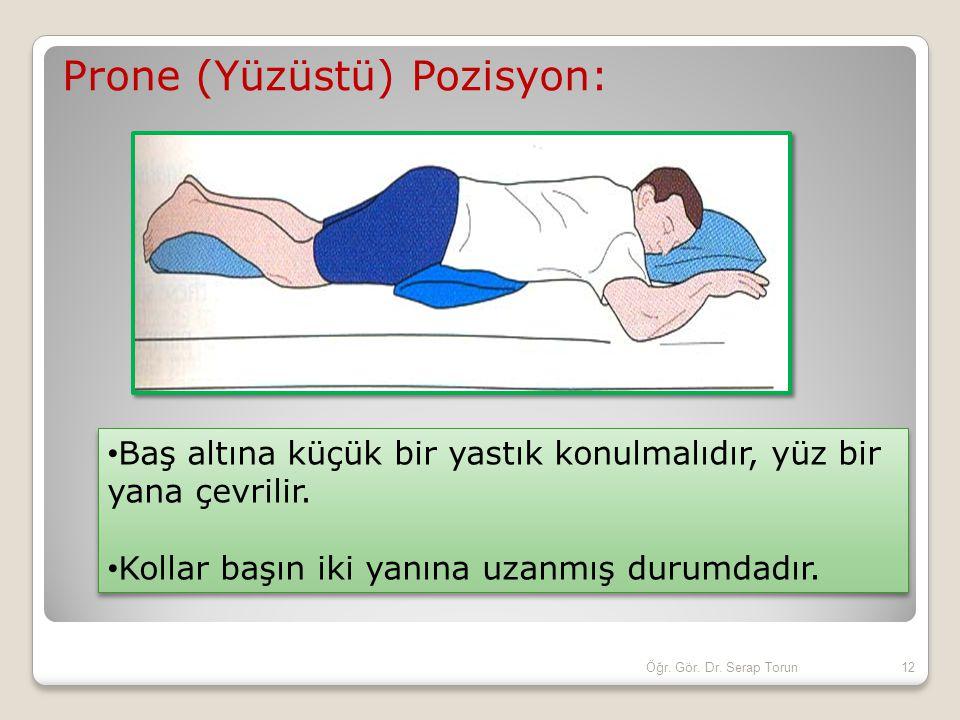 Prone (Yüzüstü) Pozisyon: Baş altına küçük bir yastık konulmalıdır, yüz bir yana çevrilir. Kollar başın iki yanına uzanmış durumdadır. Baş altına küçü