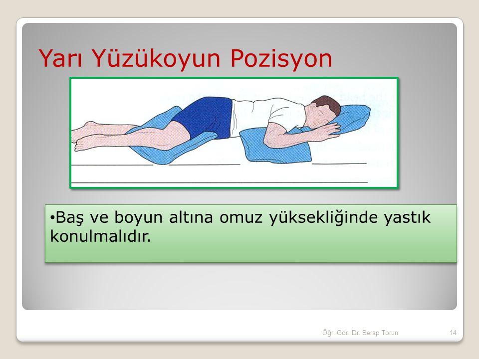 Yarı Yüzükoyun Pozisyon Baş ve boyun altına omuz yüksekliğinde yastık konulmalıdır. 14Öğr. Gör. Dr. Serap Torun