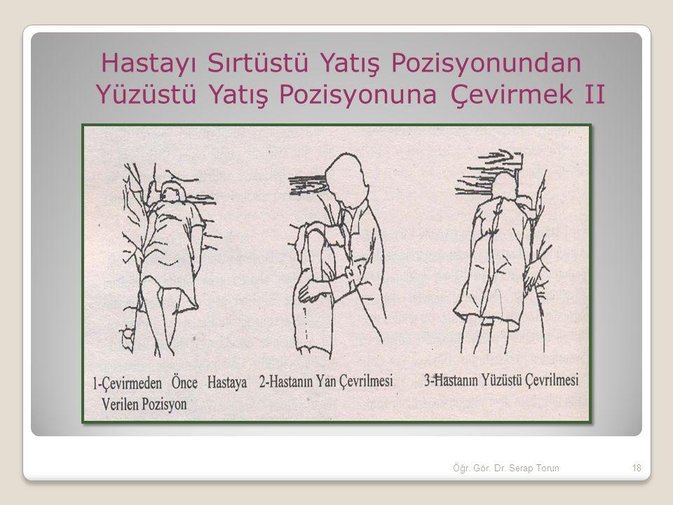 Hastayı Sırtüstü Yatış Pozisyonundan Yüzüstü Yatış Pozisyonuna Çevirmek II 18Öğr. Gör. Dr. Serap Torun
