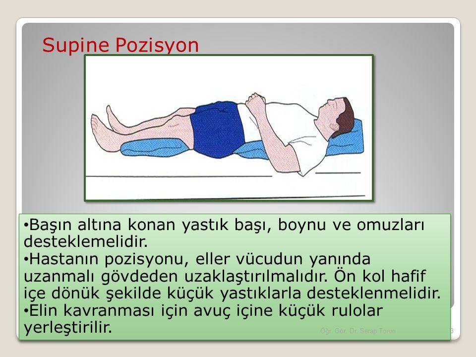 Supine Pozisyon Başın altına konan yastık başı, boynu ve omuzları desteklemelidir. Hastanın pozisyonu, eller vücudun yanında uzanmalı gövdeden uzaklaş
