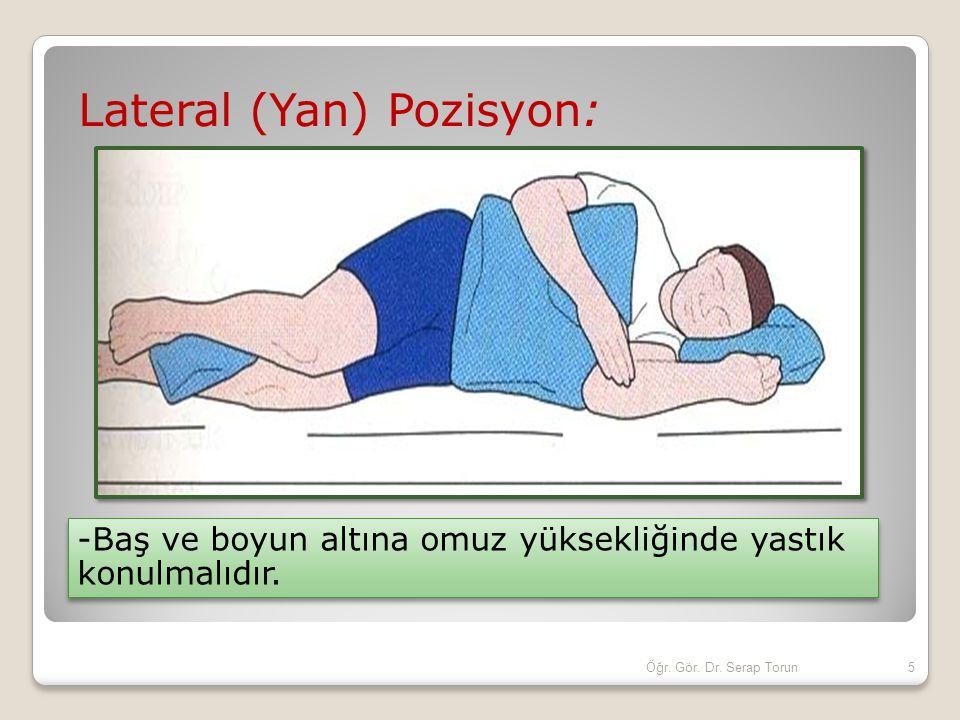 Lateral (Yan) Pozisyon: -Baş ve boyun altına omuz yüksekliğinde yastık konulmalıdır. 5Öğr. Gör. Dr. Serap Torun