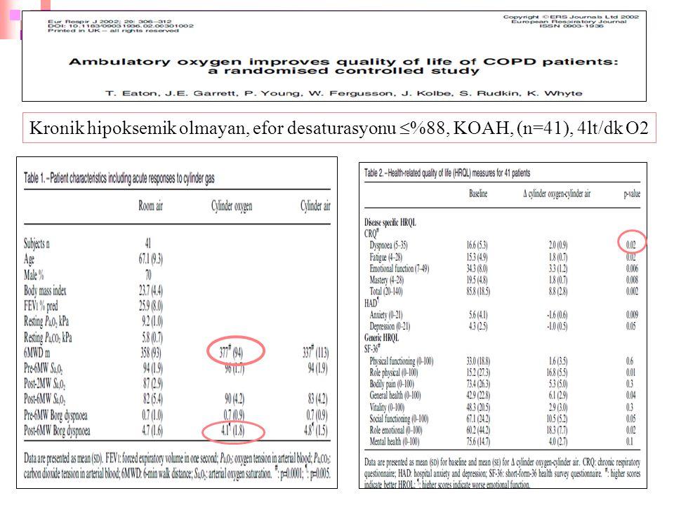 35 Kronik hipoksemik olmayan, efor desaturasyonu  %88, KOAH, (n=41), 4lt/dk O2