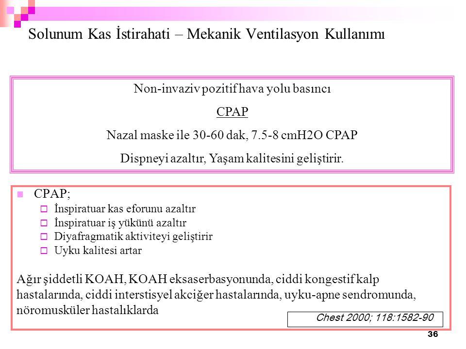 36 Solunum Kas İstirahati – Mekanik Ventilasyon Kullanımı CPAP;  İnspiratuar kas eforunu azaltır  İnspiratuar iş yükünü azaltır  Diyafragmatik akti