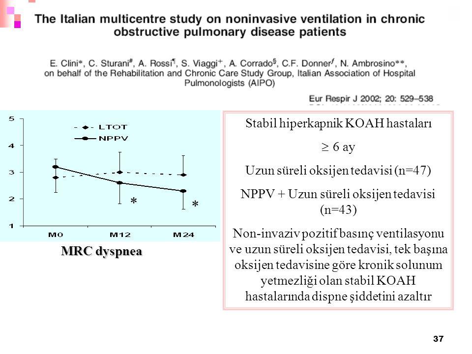 37 * * MRC dyspnea Stabil hiperkapnik KOAH hastaları  6 ay Uzun süreli oksijen tedavisi (n=47) NPPV + Uzun süreli oksijen tedavisi (n=43) Non-invaziv