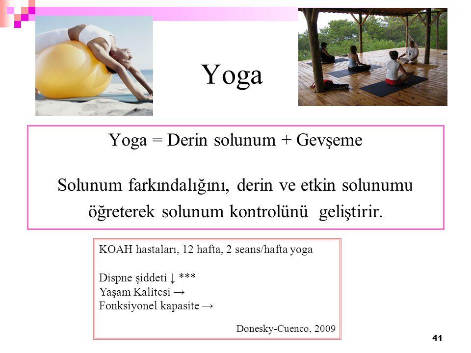 41 Yoga Yoga = Derin solunum + Gevşeme Solunum farkındalığını, derin ve etkin solunumu öğreterek solunum kontrolünü geliştirir. KOAH hastaları, 12 haf