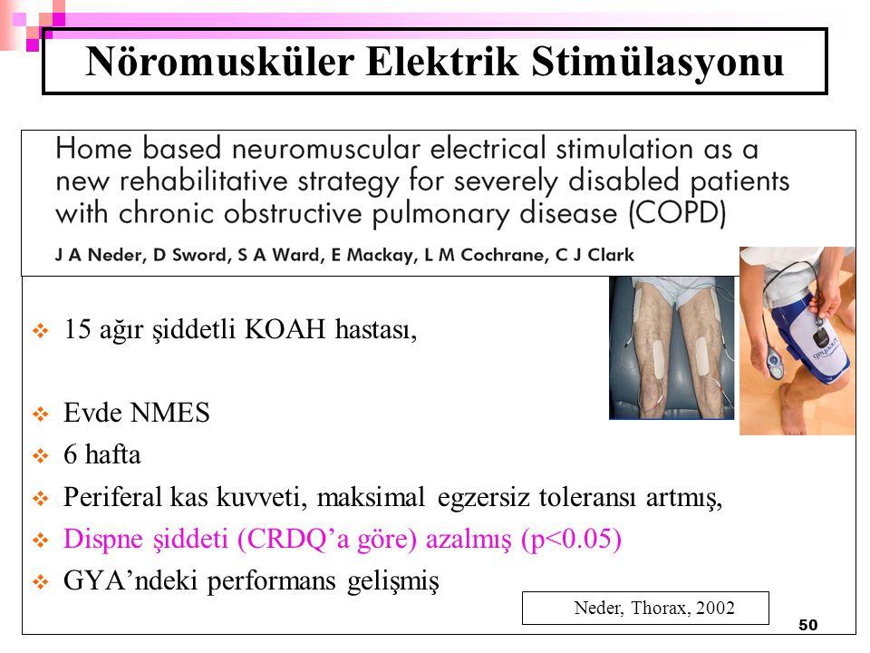 50  15 ağır şiddetli KOAH hastası,  Evde NMES  6 hafta  Periferal kas kuvveti, maksimal egzersiz toleransı artmış,  Dispne şiddeti (CRDQ'a göre)