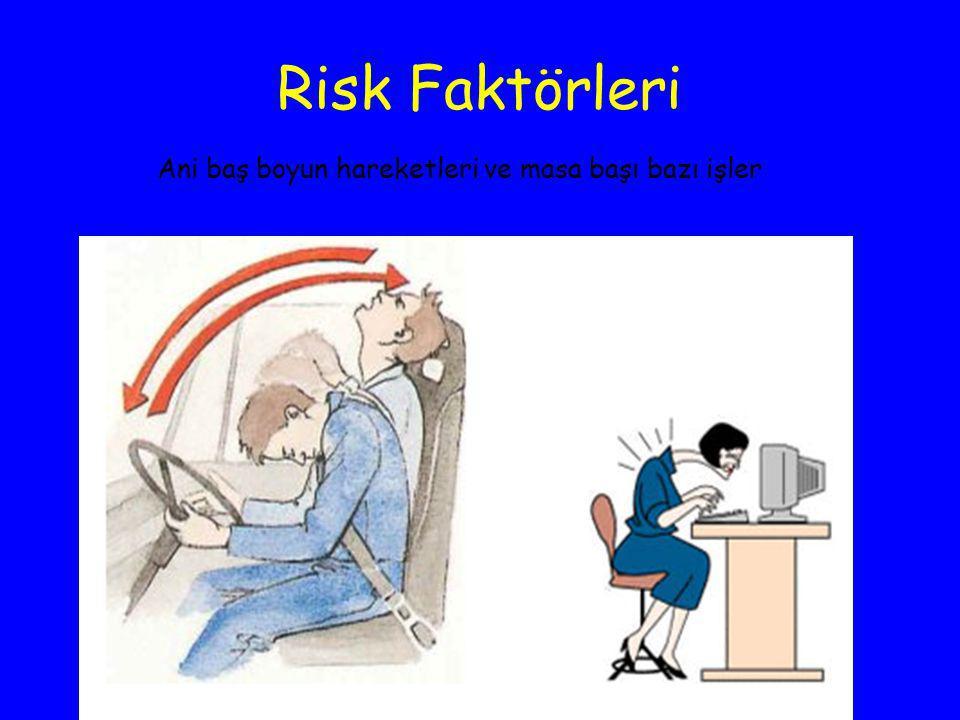 Risk Faktörleri Ani baş boyun hareketleri ve masa başı bazı işler