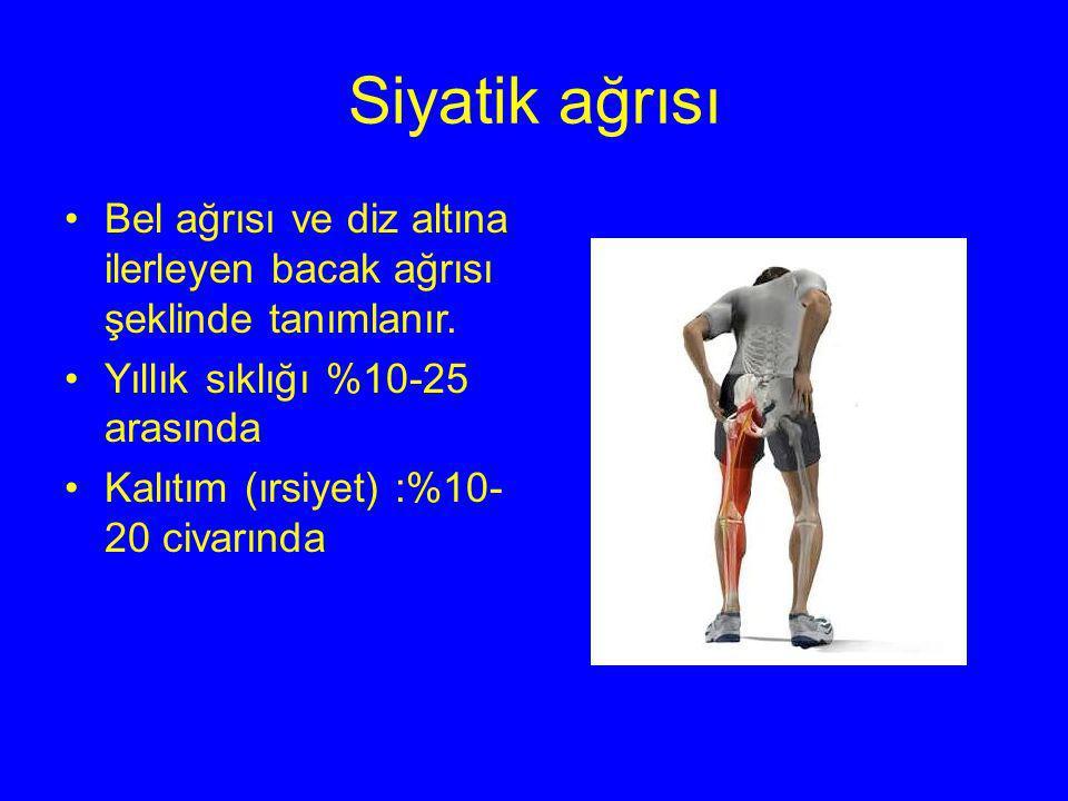 Siyatik ağrısı Bel ağrısı ve diz altına ilerleyen bacak ağrısı şeklinde tanımlanır. Yıllık sıklığı %10-25 arasında Kalıtım (ırsiyet) :%10- 20 civarınd