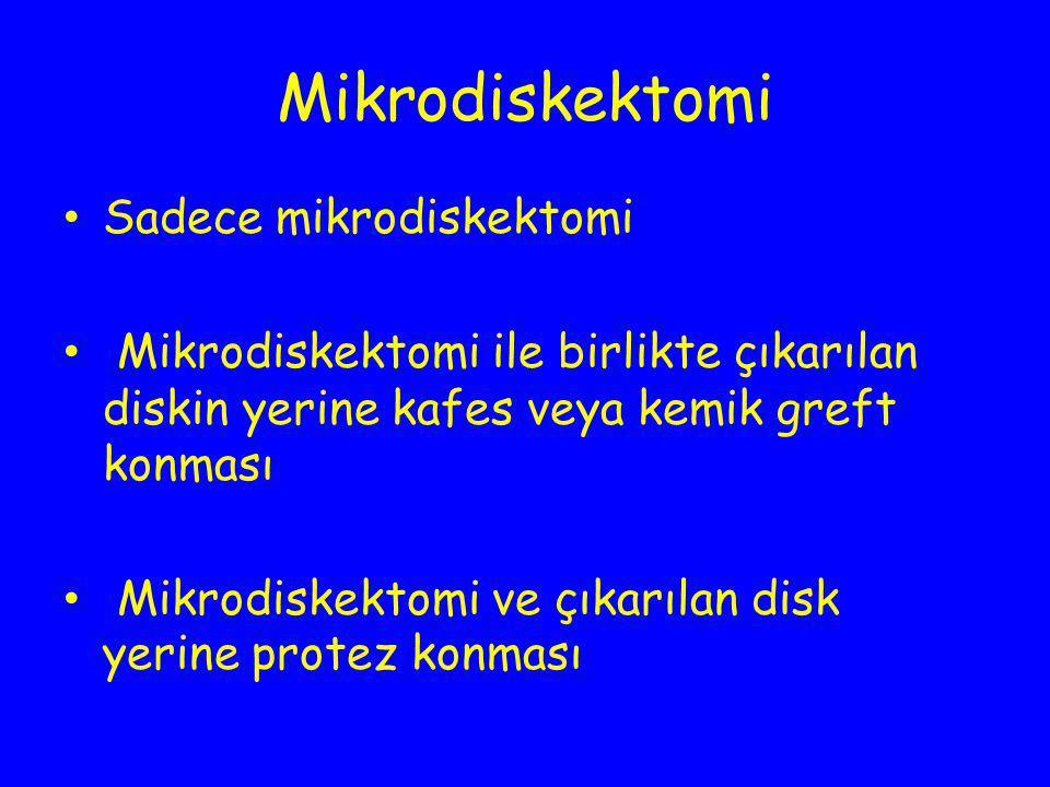 Mikrodiskektomi Sadece mikrodiskektomi Mikrodiskektomi ile birlikte çıkarılan diskin yerine kafes veya kemik greft konması Mikrodiskektomi ve çıkarıla