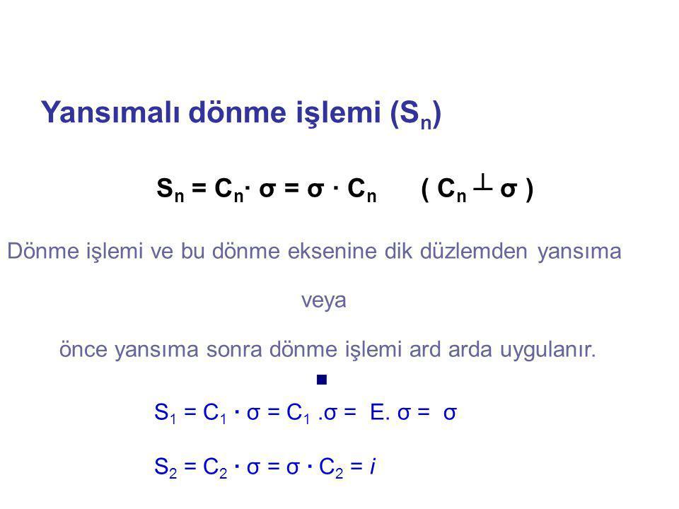 Yansımalı dönme işlemi (S n ) Dönme işlemi ve bu dönme eksenine dik düzlemden yansıma veya önce yansıma sonra dönme işlemi ard arda uygulanır. S 1 = C