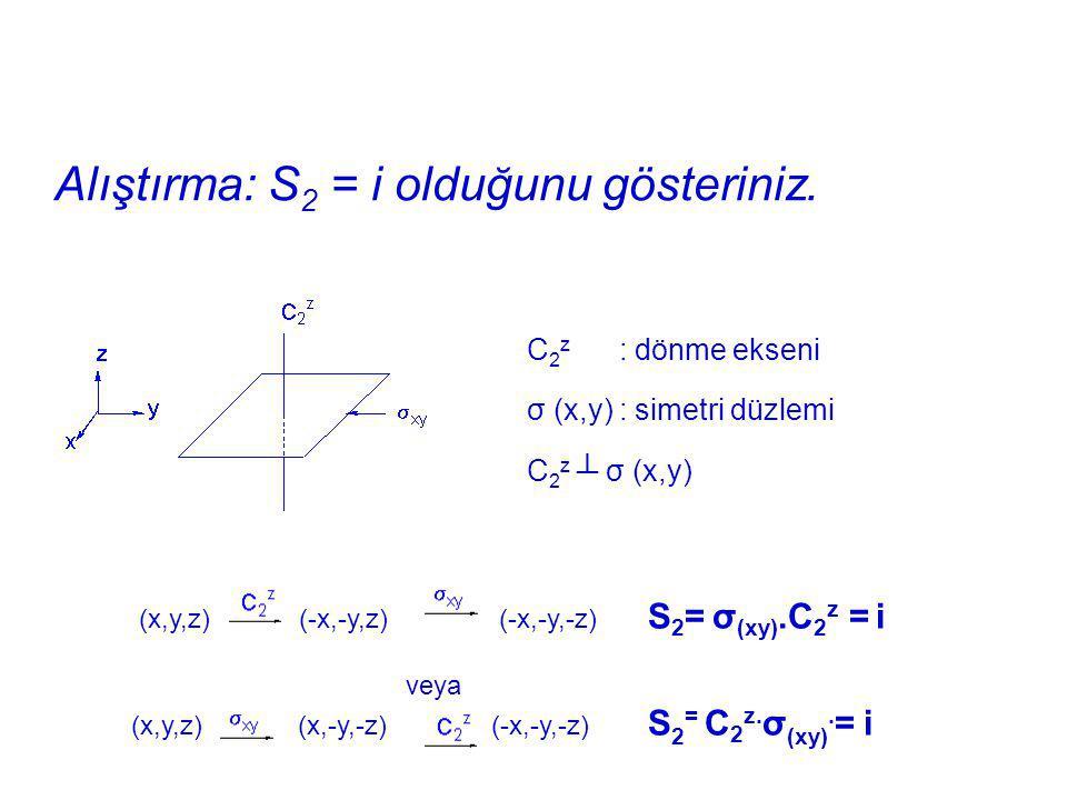 Alıştırma: S 2 = i olduğunu gösteriniz. C 2 z : dönme ekseni σ (x,y) : simetri düzlemi C 2 z ┴ σ (x,y) (x,y,z) (-x,-y,z) (-x,-y,-z) S 2 = σ (xy).C 2 z