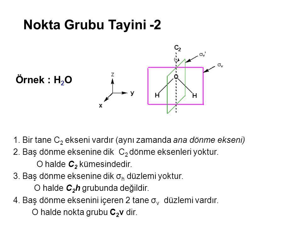 Nokta Grubu Tayini -2 1. Bir tane C 2 ekseni vardır (aynı zamanda ana dönme ekseni) 2. Baş dönme eksenine dik C 2 dönme eksenleri yoktur. O halde C 2