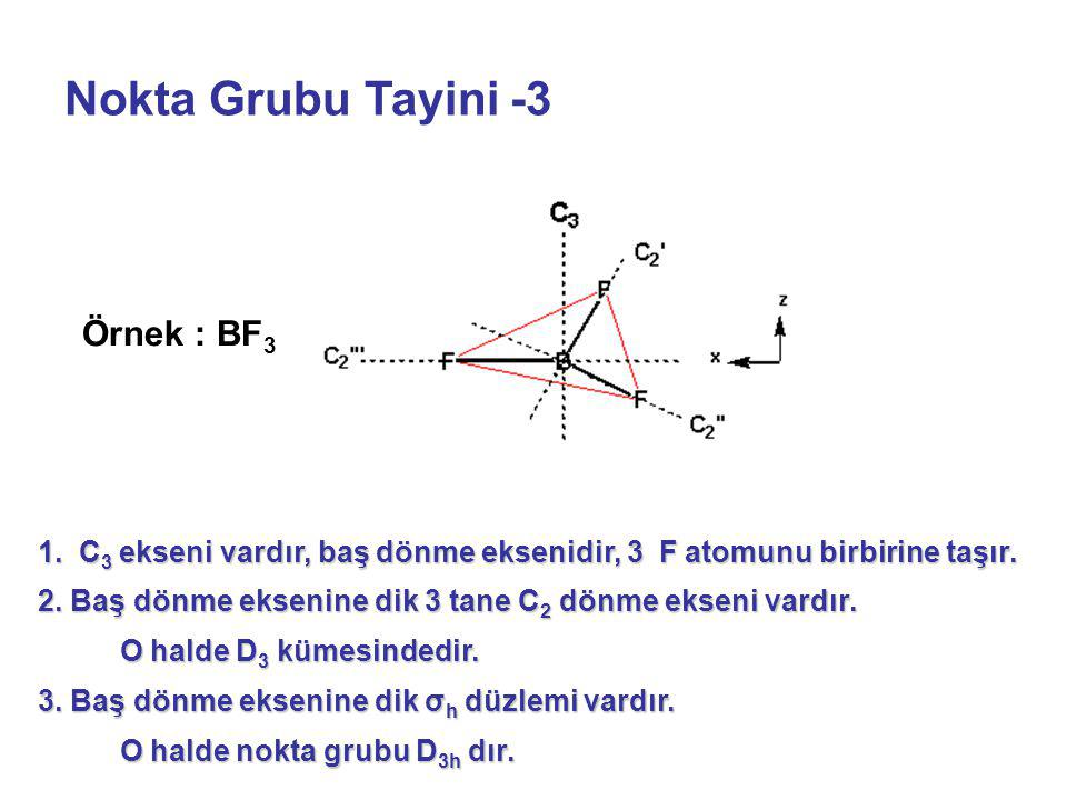 Nokta Grubu Tayini -3 1. C 3 ekseni vardır, baş dönme eksenidir, 3 F atomunu birbirine taşır. 2. Baş dönme eksenine dik 3 tane C 2 dönme ekseni vardır