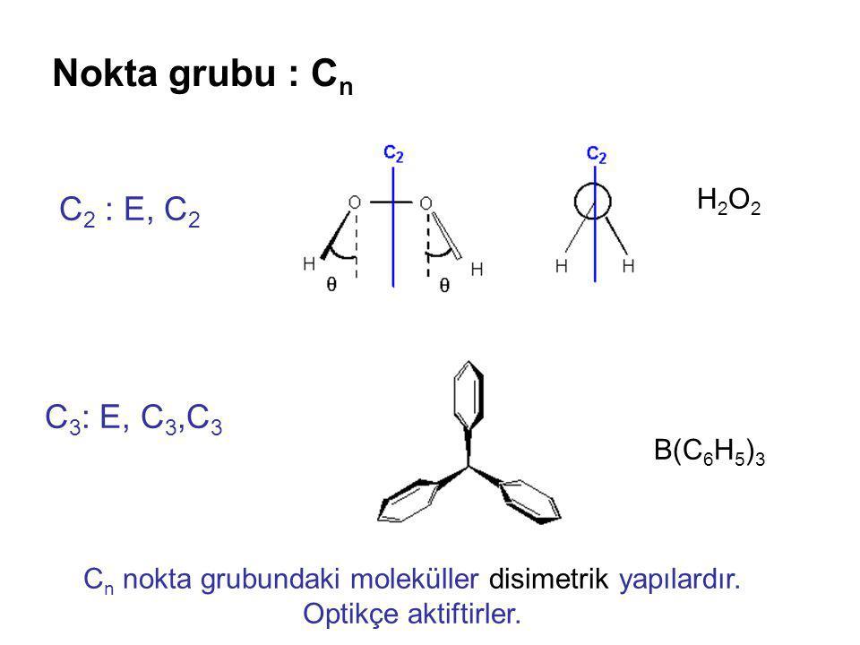 Nokta grubu : C n C 2 : E, C 2 C 3 : E, C 3,C 3 H2O2H2O2 B(C 6 H 5 ) 3 C n nokta grubundaki moleküller disimetrik yapılardır. Optikçe aktiftirler.