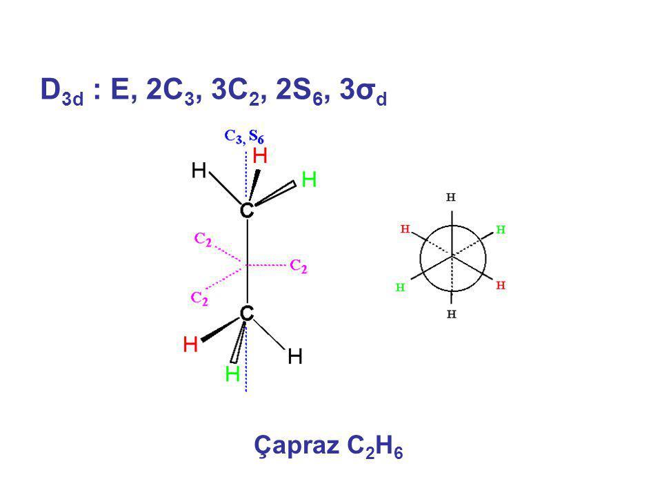 D 3d : E, 2C 3, 3C 2, 2S 6, 3σ d Çapraz C 2 H 6