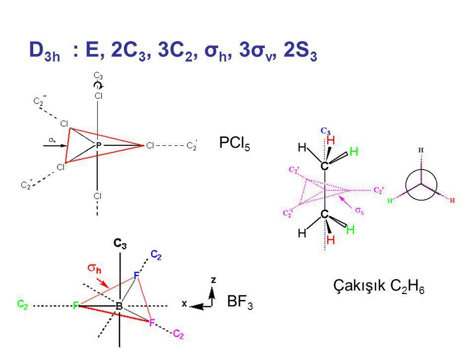 D 3h : E, 2C 3, 3C 2, σ h, 3σ v, 2S 3 PCl 5 BF 3 Çakışık C 2 H 6