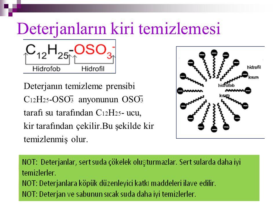 Deterjanların kiri temizlemesi Deterjanın temizleme prensibi C 12 H 25 -OSO 3 anyonunun OSO 3 tarafı su tarafından C 12 H 25 - ucu, kir tarafından çek