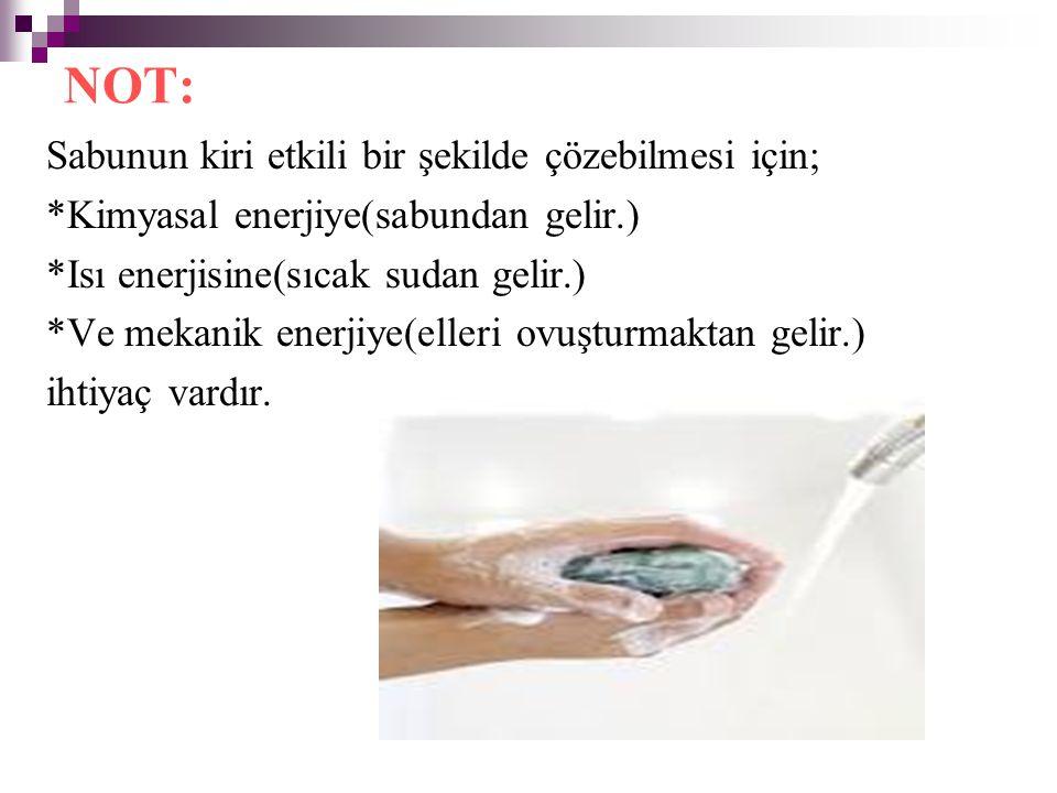 Sabunun kiri etkili bir şekilde çözebilmesi için; *Kimyasal enerjiye(sabundan gelir.) *Isı enerjisine(sıcak sudan gelir.) *Ve mekanik enerjiye(elleri