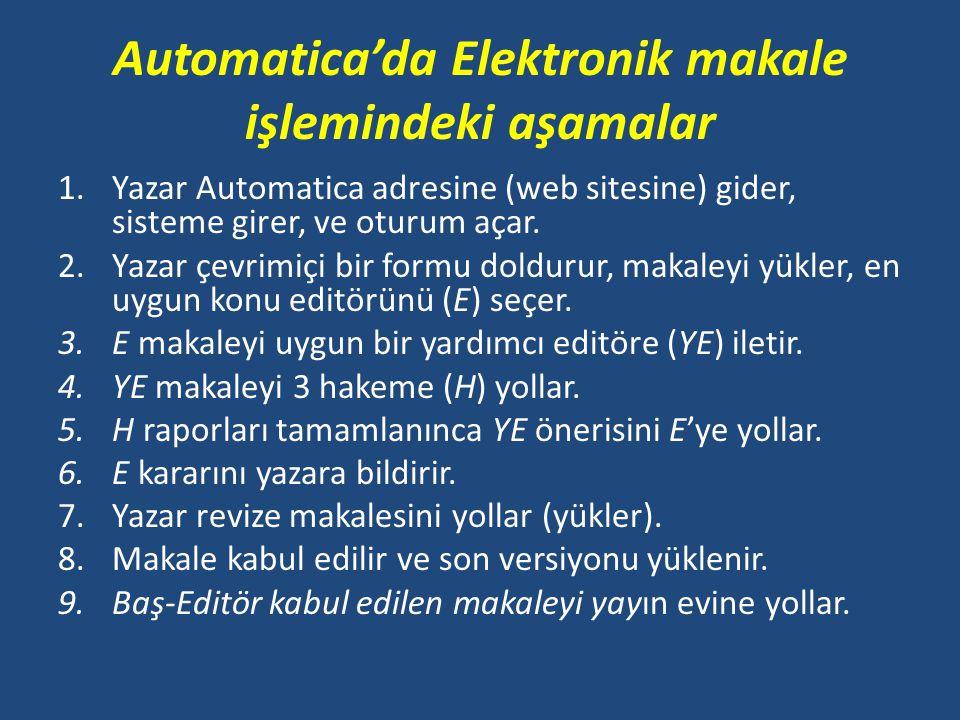 Automatica'da Elektronik makale işlemindeki aşamalar 1.Yazar Automatica adresine (web sitesine) gider, sisteme girer, ve oturum açar. 2.Yazar çevrimiç