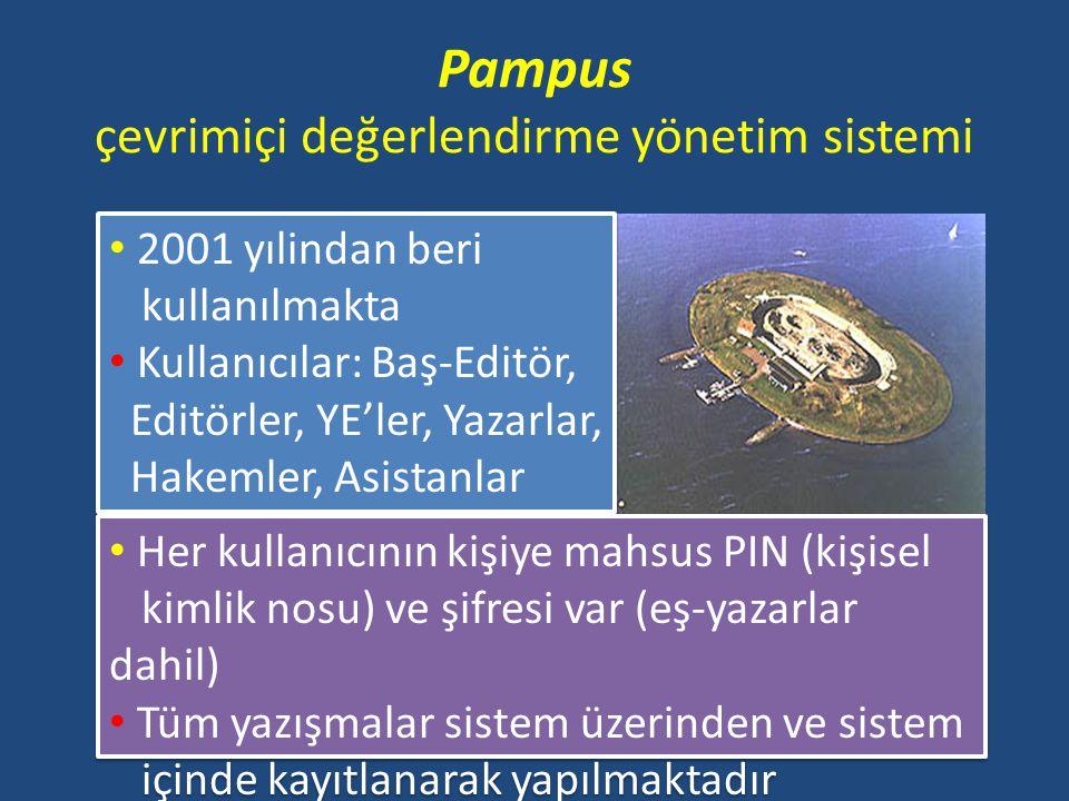 Pampus çevrimiçi değerlendirme yönetim sistemi 2001 yılindan beri kullanılmakta Kullanıcılar: Baş-Editör, Editörler, YE'ler, Yazarlar, Hakemler, Asist