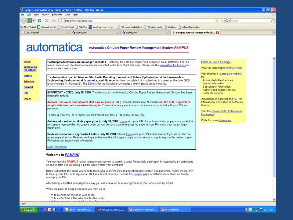 Genel Pampus Özellikleri iç içe geçmiş bir erişim yetkileri yapısı tüm yazışma ve tutanaklar sistemde arşivlenmekte ve veriler her 24 saatte bir yedeklenmektedir kişiye özel acil işlemler listesi aynı yazara ait tüm makalelerin listesinin çıkarılması hakem veritabanı: kategorize edilebilir, dilimlenebilir yanlış hakem seçimlerinin engellenmesi kısıtlı yazarlar listesi yayınlanacak sayıların derlenmesi; içindekiler tablosunun yaratılması; istatistiksel verilerin derlenmesi