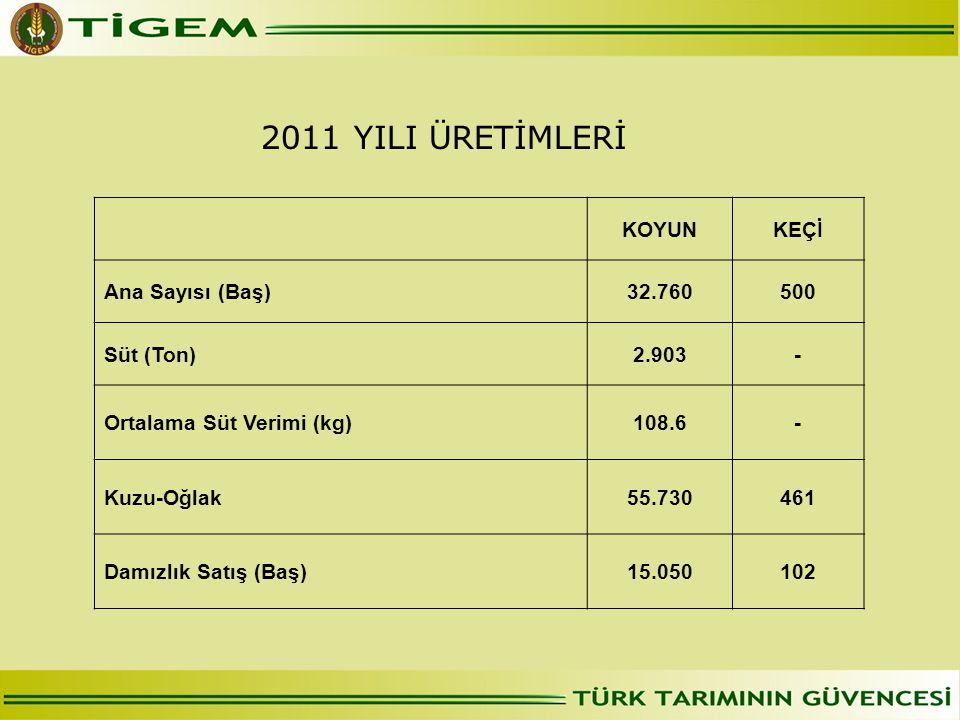 2011 YILI ÜRETİMLERİ KOYUNKEÇİ Ana Sayısı (Baş)32.760500 Süt (Ton)2.903- Ortalama Süt Verimi (kg)108.6- Kuzu-Oğlak55.730461 Damızlık Satış (Baş)15.050