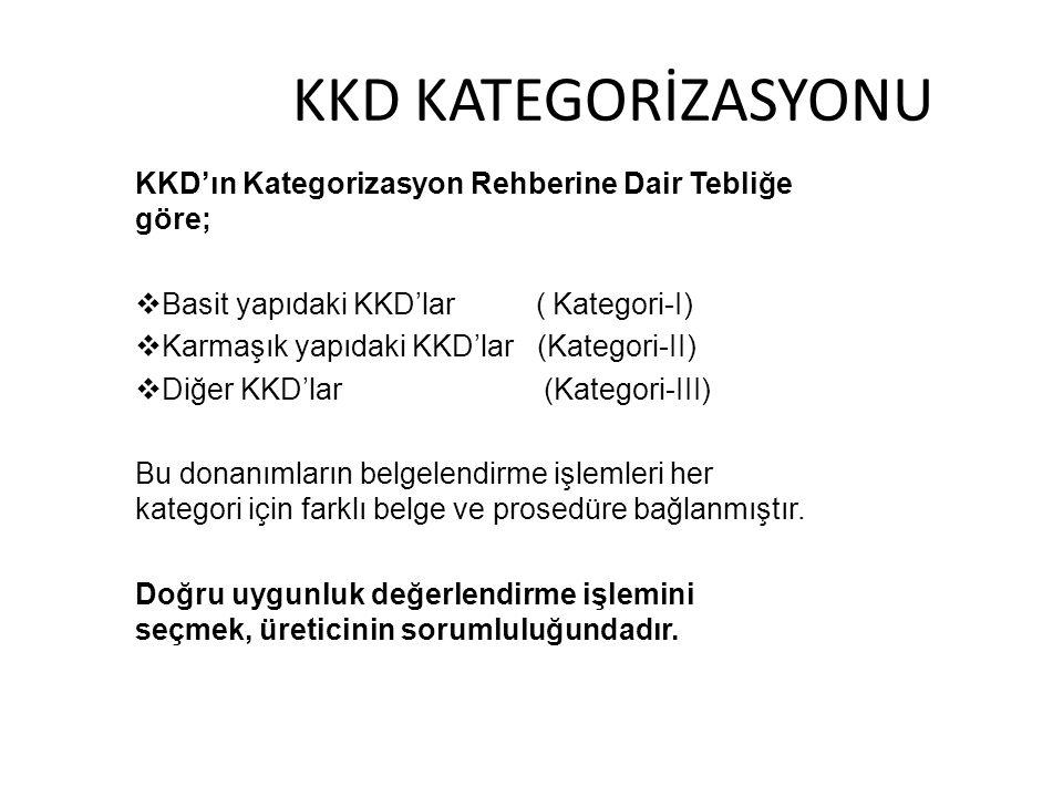 KKD KATEGORİZASYONU KKD'ın Kategorizasyon Rehberine Dair Tebliğe göre;  Basit yapıdaki KKD'lar ( Kategori-I)  Karmaşık yapıdaki KKD'lar (Kategori-II)  Diğer KKD'lar (Kategori-III) Bu donanımların belgelendirme işlemleri her kategori için farklı belge ve prosedüre bağlanmıştır.