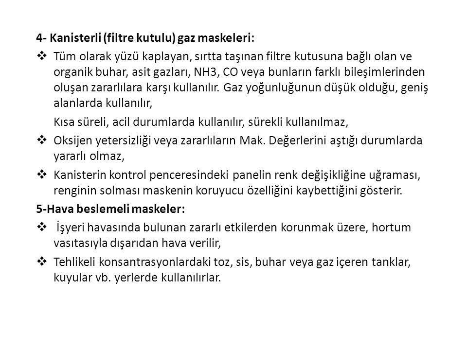 4- Kanisterli (filtre kutulu) gaz maskeleri:  Tüm olarak yüzü kaplayan, sırtta taşınan filtre kutusuna bağlı olan ve organik buhar, asit gazları, NH3, CO veya bunların farklı bileşimlerinden oluşan zararlılara karşı kullanılır.
