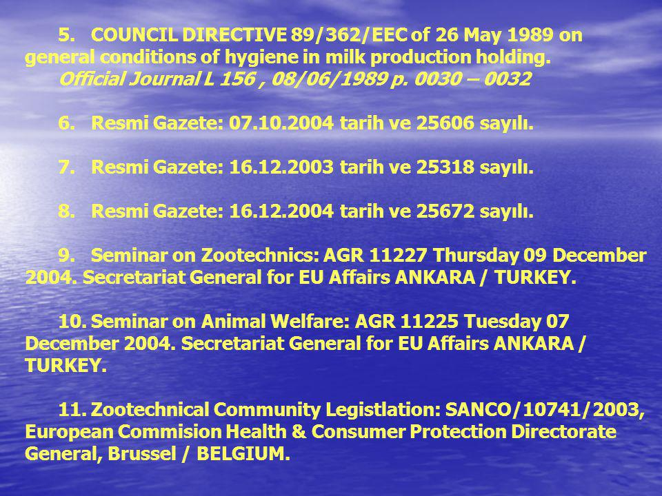 KAYNAKLAR 1.COUNCIL DIRECTIVE 97/2/EC of 20 January 1997 amending Directive 91/629/EEC laying down minimum standards for the protection of calves Offi