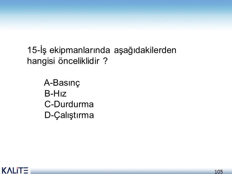 105 15-İş ekipmanlarında aşağıdakilerden hangisi önceliklidir ? A-Basınç B-Hız C-Durdurma D-Çalıştırma